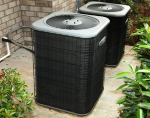 two outside units of an air conditioning system